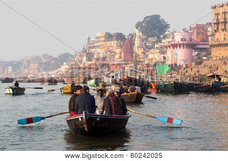 Tourists On The Ganges River In Varanasi, India