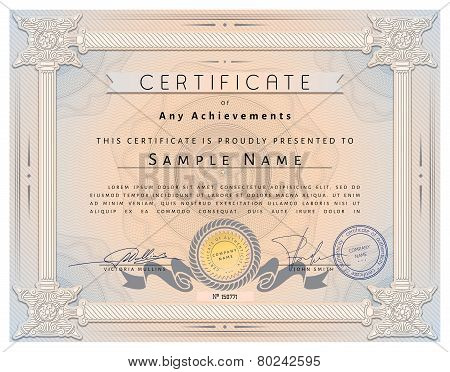 Vintage Certificate Template With Detailed Border And Calligraphic Elements On Pink Paper In Vector