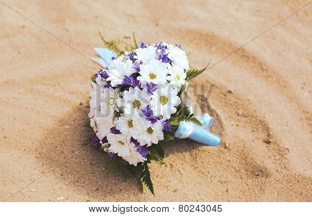 Wedding Bridal Bouquet On The Beach
