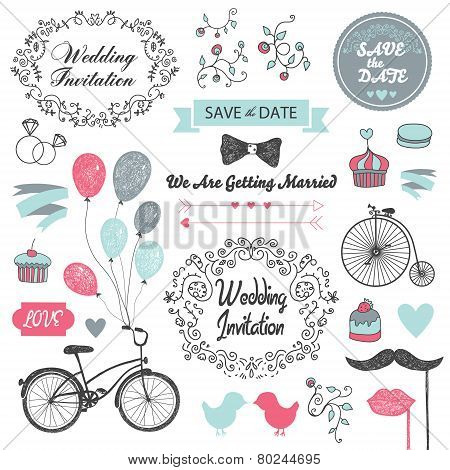 set of vector vintage wedding invitation design elements