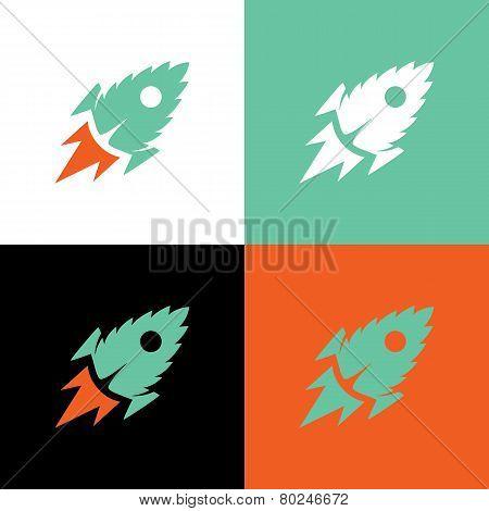 Rocket Mint Leaf, Vector Illustration
