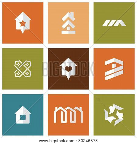 Houses icons set. Real estate. Vector symbol.