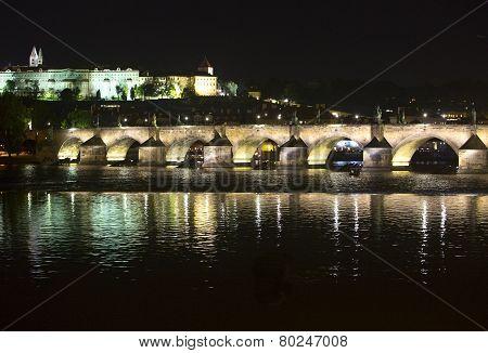 Karl Bridge at night Prague the Czech Republic