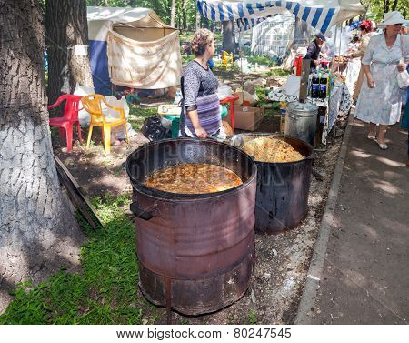 Cooking Traditional Food Outdoors In The Park On The Tatar Holiday Sabantuy
