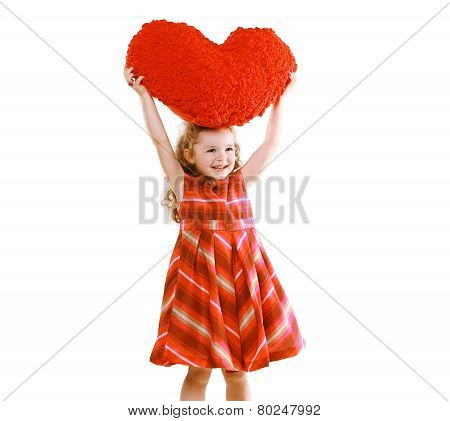 Love, Mother's Day, Valentine's Day, Goodness And People Concept - Happy Little Girl With Big Heart