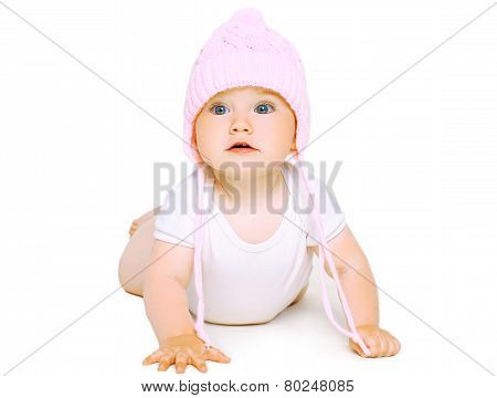 Sweet Baby Crawls In Knitted Hat