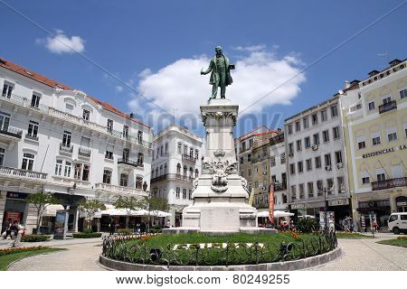 Monument On The Square In The University Town Coimbra