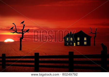 Spooky Farm House In The Sunset