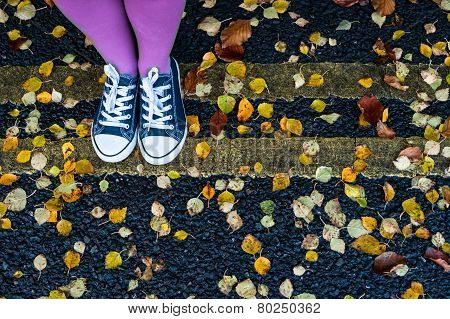 standing on the autumn street