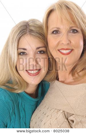 mother daughter photo on white