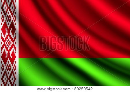 Waving flag of Belarus, vector