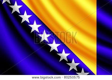Waving flag of Bosnia and Herzegovina, vector