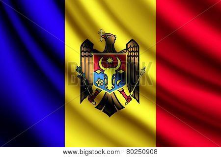 Waving flag of Moldova, vector