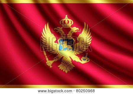 Waving flag of Montenegro, vector