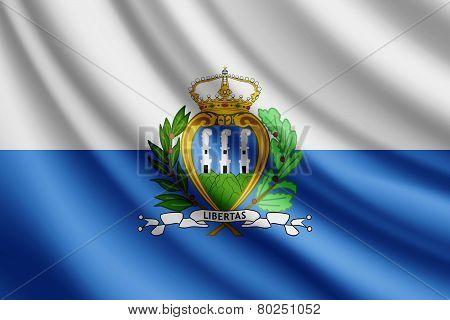 Waving flag of San Marino, vector