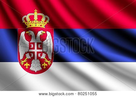 Waving flag of Serbia, vector