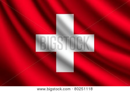 Waving flag of Switzerland, vector