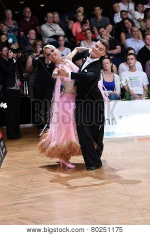 Ballroom dance couple, dancing at the competition