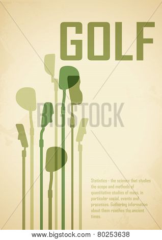Golf Poster. Postcard. Sport For Gentlemen. Golf Background - Game Time