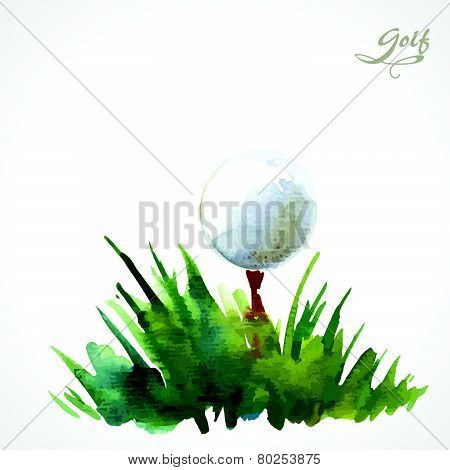 Watercolor Poster With The Inscription Golf. A Simple Solution For Your Decor And Design. Green Gras