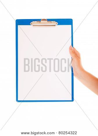Female Hand Holds Clipboard With Empty Blank Sign
