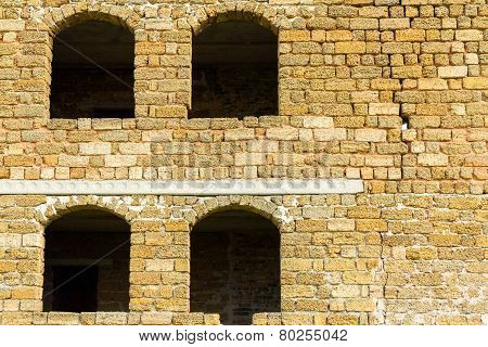 Windows And Walls Of An Unfinished Abandoned House