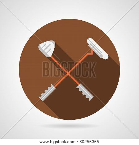 Crossed golf clubs flat vector icon