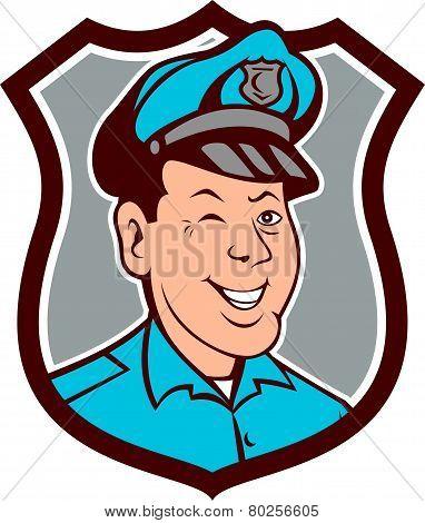 Policeman Winking Smiling Shield Cartoon