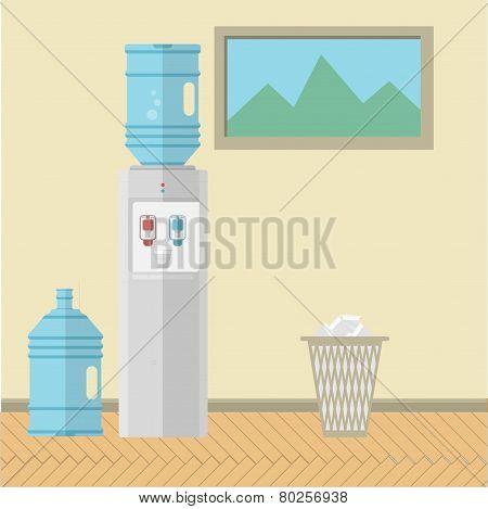 Flat vector illustration of office interior
