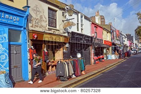 Shops In The Famous Brighton North Laines District, Uk.