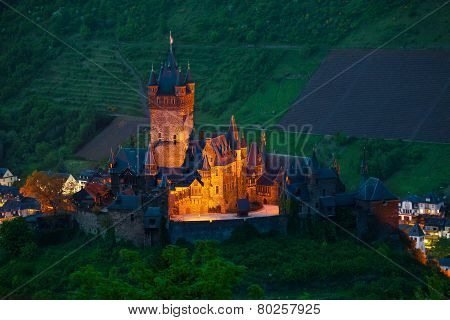 Panorama of Cochem castle and town from above