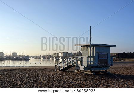 Life Guard Hut At Marina Del Rey Beach, Los Angeles, Usa.