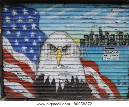 Mural in the memory of NYPD and FDNY personnel lost at September 11, 2001