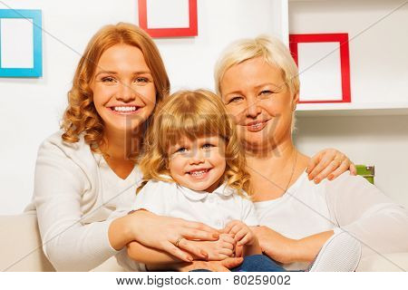 Family portrait with gril mother and granny