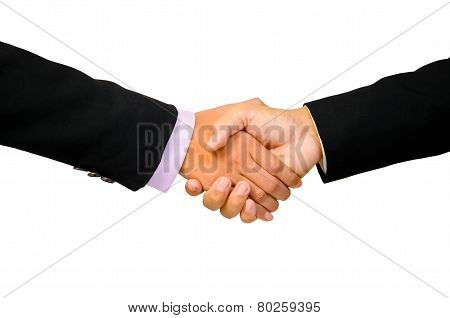 Hand Shake Between A Businessman And A Businesswoman Isolated On White