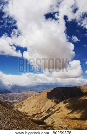 viewpoint high road on the way to Pangong Lake from Leh LADAKH, INDIA - September ,2014