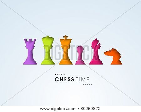 Shiny colorful set of chess pieces like king, queen, rook, pawn, bishop and knight on sky blue background.