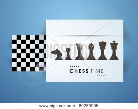 Set of chess pieces with chess board on blue background.