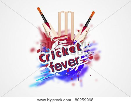 Colorful splash with cricket bat and wicket stumps for Cricket Fever on white background.