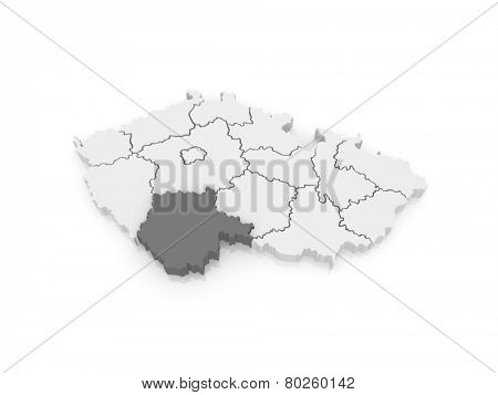 Map of South Bohemian Region. Czech Republic. 3d