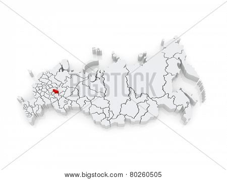 Map of the Russian Federation. Republic of Mari El. 3d