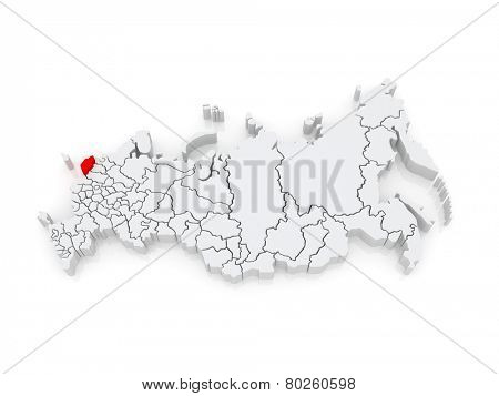 Map of the Russian Federation. Pskov region. 3d