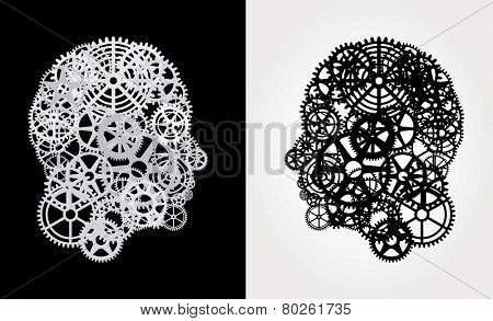 human profile with gears