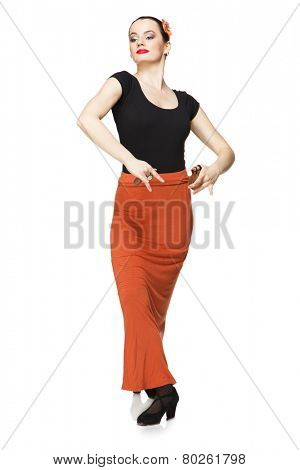 Flamenco dancer with castanets isolated on white background