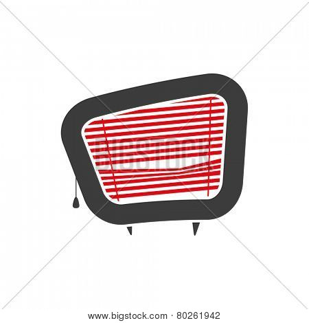 vector illustration of tv with blinds
