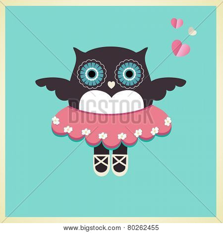 Sweet owl in Ballet slippers tutu and hearts