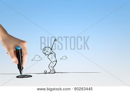 Funny caricature of golf player hitting ball