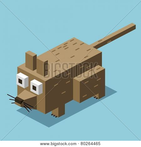 dirty rat. 3d pixelate isometric vector