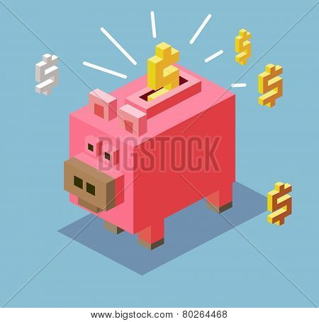 piggy bank. 3d pixelate isometric vector