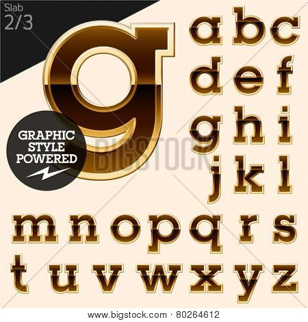 Brown alphabet with golden border. Slab. File contains graphic styles available in Illustrator. Set 2